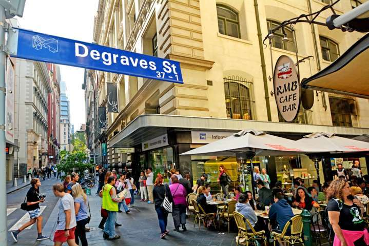 Traffic on Degraves Street, one of Melbourne's finest Laneway environments